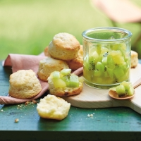 White chocolate and kiwi scones