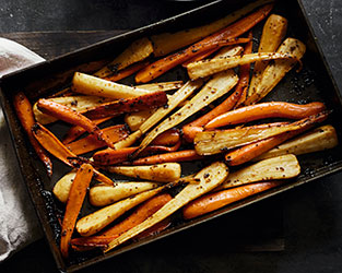 Maple-roast parsnips and carrots