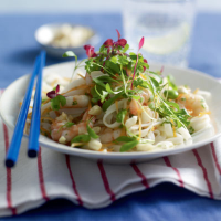 Asian prawn and noodle salad with coriander and amaranth