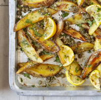Baked potato wedges with anchovy, caper and garlic butter