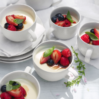 Basil panna cotta with mixed berries