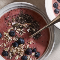Berry, coconut and chia smoothie bowl