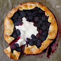 Blackberry and vanilla gallette with soured cream