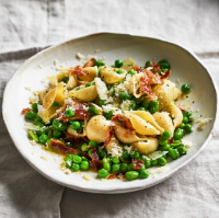 Broad bean, mint and pancetta pasta