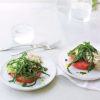 Bryn Williams's watermelon, avocado, crab and samphire salad