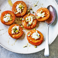 Diana Henry's baked apricots with curd, pistachios & honey