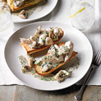 Chicken & mushroom garlic bread topper