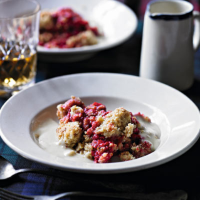 Crunchy oatmeal and raspberry crumble with warm Drambuie custard