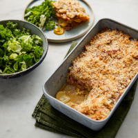 Celeriac and ham hock gratin