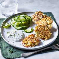 Celeriac latkes with quick pickled cucumbers