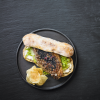 Classic steak sandwich with mustard mayo