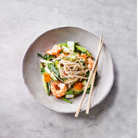 Courgette, prawn & udon salad with nuoc cham dressing