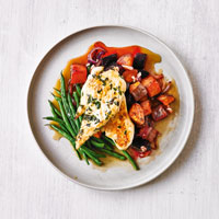 Chicken with roasted beetroot & sweet potatoes