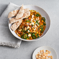 Easy chick pea, aubergine and spinach curry
