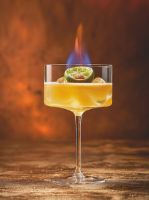 Flaming sidecar cocktail