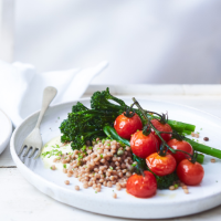 Giant couscous with Tenderstem broccoli and saffron yogurt