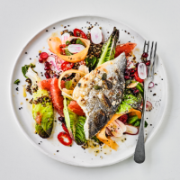 Grilled bream with grapefruit salad