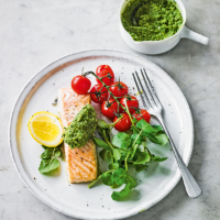 Griddled salmon with watercress & walnut pesto