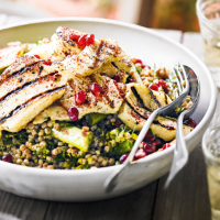 Giant couscous with preserved lemon, chargrilled onion, halloumi & herb dressing