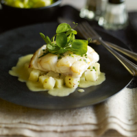 Heston's Pan-seared cod with leek and pototo sauce