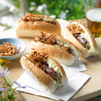 Heston's Hot dog with crispy onions
