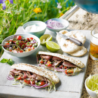 Heston's Lamb & salsa pittas