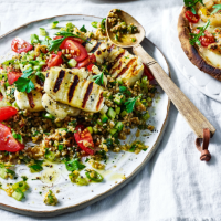 Halloumi, tomato and herb bulgar salad