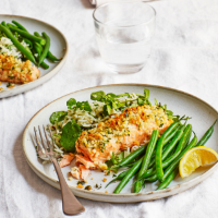 Herb-crusted salmon and wild rice