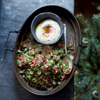 Herbed tabbouleh with tahini yogurt dressing