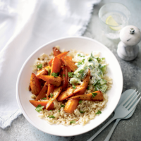 Honey-roasted carrots with grains & tzatziki