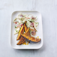 Hot spiced aubergines with fruity coleslaw