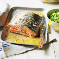 Honey-roasted salmon with peas à la française