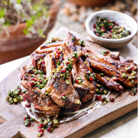 Lamb cutlets with herb, walnut & pomegranate salsa