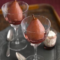 LOVE life merlot-poached pears