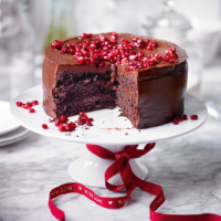 Martha's chocolate and pomegranate layer cake