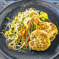 Japanese miso fishcakes with noodle salad