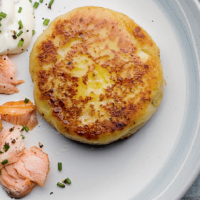 Potato cakes with hot smoked salmon
