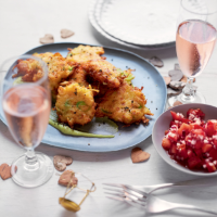 Parsnip & halloumi fritters with tomato salsa & avocado