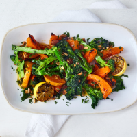Purple sprouting broccoli and squash salad with chilli butter