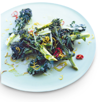 Purple-sprouting broccoli with chilli & lemon