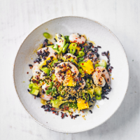 Prawn, black rice, avocado & mango salad