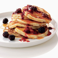 Ricotta pancakes with blackberry butter
