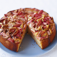 Rhubarb and Soured Cream Cake with a Ginger Syrup