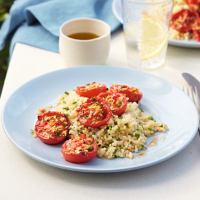 Roasted chilli tomatoes with herby bulgar wheat