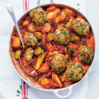 Root vegetable casserole with herb dumplings
