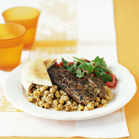 Spiced Lamb Steaks with Lemony Chickpeas