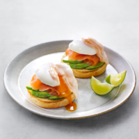 Salmon, avocado & poached egg muffins