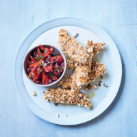 Spicy popcorn chicken with red pepper salsa