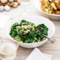 Spring greens with garlic & pine nuts