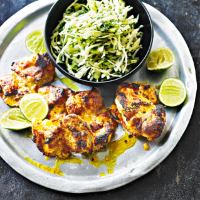 Sticky Louisiana chicken with green slaw